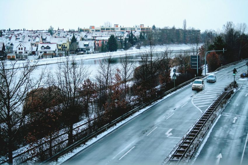 Transportation Cold Temperature Winter Tree Day No People Outdoors Snow Nature Sky Beauty In Nature Water Passenger Boarding Bridge Landscape Winter Main Donau Kanal Adapted To The City