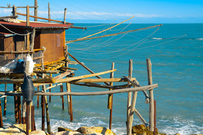 Beauty In Nature Blue Day Fishing Net Horizon Over Water Nature Nautical Vessel No People Outdoors Scenics Sea Sky Trabocchi Coast Trabocco Transportation Water Wood - Material