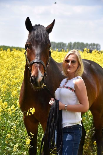 Live For The Story Horse Domestic Animals Mammal One Animal Bridle Livestock Field Day Portrait One Person Front View Smiling Standing Leisure Activity Horseback Riding Looking At Camera Outdoors Real People Sky Happiness Nature Rapeseed Holsteiner Horse Photography