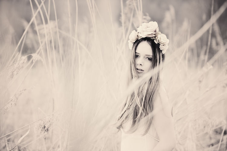Young Women in a Field Beautiful Woman Beauty Contemplation Field Flowers Grass Hairstyle Headpiece Headshot Land Leisure Activity Lifestyles Long Hair Looking At Camera Nature One Person Outdoors Plant Portrait Real People Selective Focus Teenager Women Young Adult Young Women