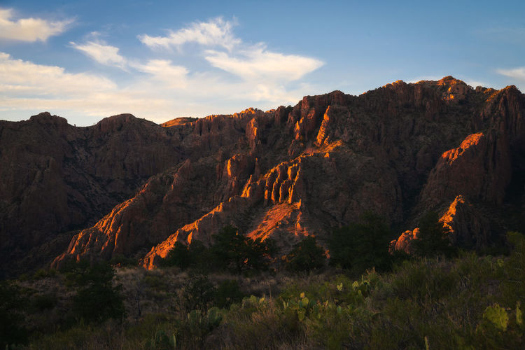 Scenic view of rocky mountains against sky in big bend national park - texas