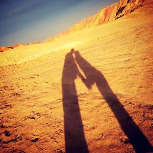 Desert Couples Shadow Sunshine Sunset 43 Golden Moments People Together Lover Kiss Danxia Landform Zhangye  Gansu Province China Sweet Golden Hour Golden Yellow