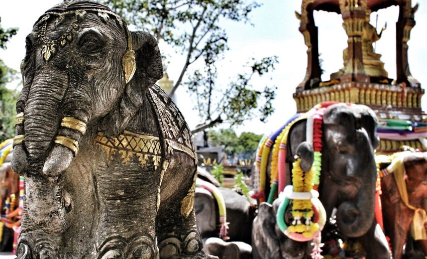 Spotted In Thailand Thailand Elephant Elephants Elephant Shrine Shrine Thai Shrine Thai Canon EyeEm Gallery Statue Statues Bokeh Up Close Elephant
