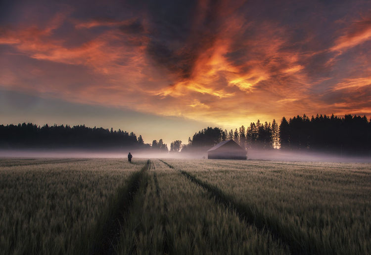 Barn on field against cloudy sky in foggy weather during sunset
