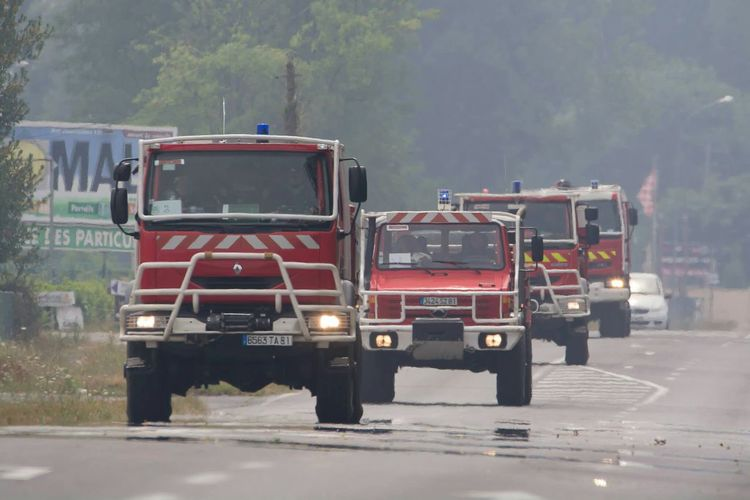 Fire engines on road