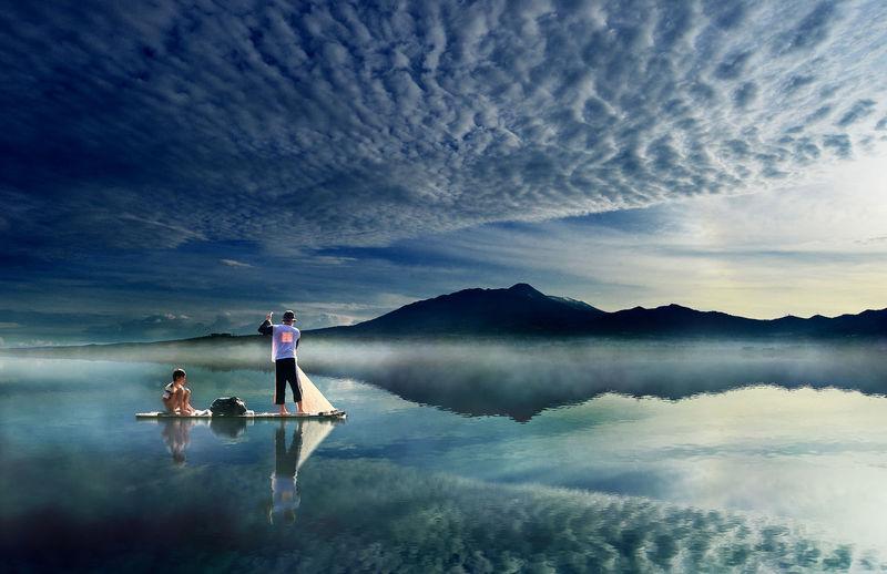 fisherman with son Morning Light Men Lake Water Togetherness Reflection Fisherman Fishing Fishing Net Catch Of Fish