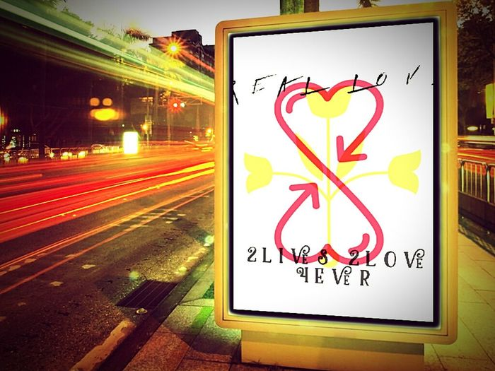 Love is Forever... Outdoors Motion Road Sign Illuminated Night Communication