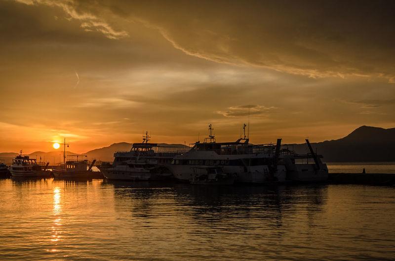 Boats Harbor Landscape Nautical Vessel Outdoors Sea Shore Sky Sunset Transportation Yellow