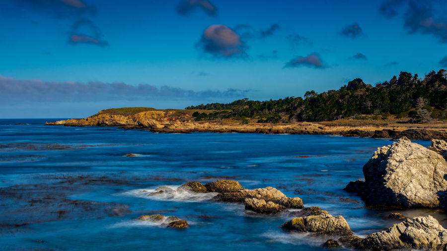 Landscape view of Point Lobos State Park near the Pacific Grove, California, USA, Monterey Peninsula, on a cloudless day with blue sky and ocean Point Lobos Point Lobos State Park CA Preserve California USA Pacific Grove, Ca Monterey Blue Color Aqua Color Blue Sky Blue Ocean