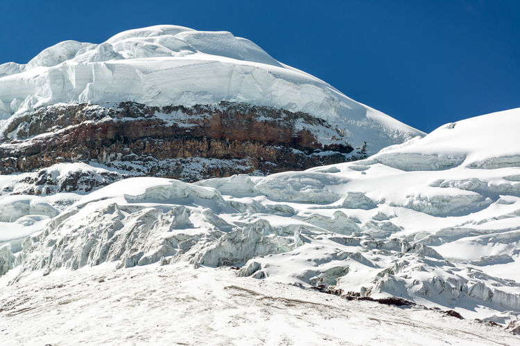 Scenic view of snowcapped cotopaxi mountain against blue sky