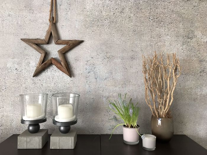 Home decoration Concrete Wall EyeEm Best Shots Home Decor Background Photography EyeEm Selects Wall - Building Feature Indoors  Plant Candle Still Life Star Shape No People Decoration Arrangement Potted Plant Vase Close-up