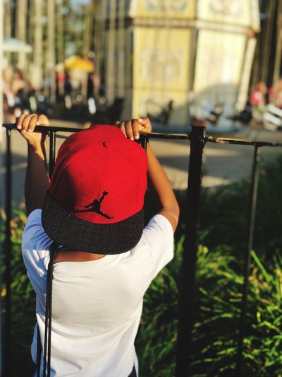 My baby boy Air Jordan Kings Island Cincinnati Ohio Summer Focus On Foreground Rear View Real People One Person Hat Day Red
