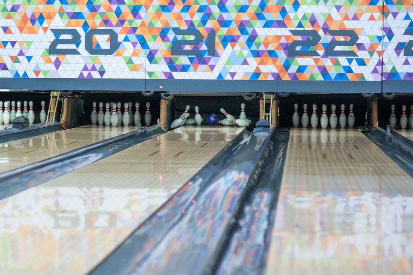 strike hit bowling 10 Pin Alley Alley Numbers Angle Angles And Lines Blue Bowling Bowling Alley Bowling Ball Bowling Pin Bowling Pins Day Failed Hit Hook Indoors  No People No People Indoor Numbers Only Straight Hair Striking Fashion Ten Ten Pin Bowling Yellow Yellow Ball