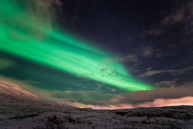 Astronomy Aurora Polaris Beauty In Nature Cold Temperature Dramatic Sky Galaxy Green Lights Landscape Mountain Natural Phenomenon Nature Night No People North Pole Northern Lights Northern Norway Outdoors Polar Circle Polar Night Scenics Sky Snow Star - Space Winter