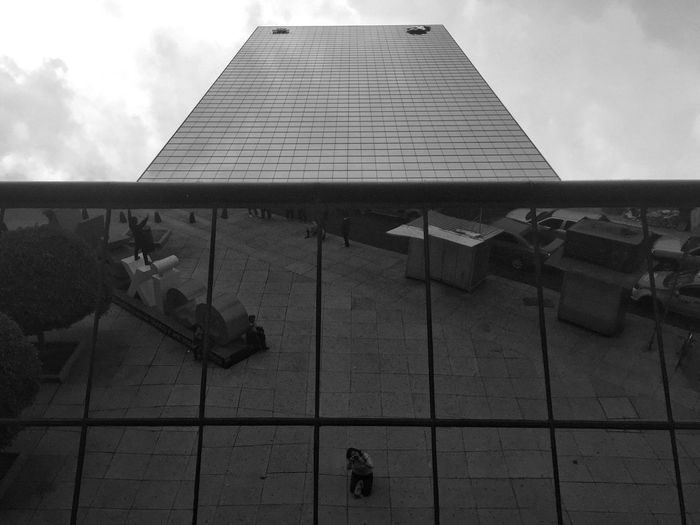 Mirror Built Structure City Blackandwhite Mexico City Self Portrait Sky Day Outdoors Cloud - Sky Low Angle View No People Architecture