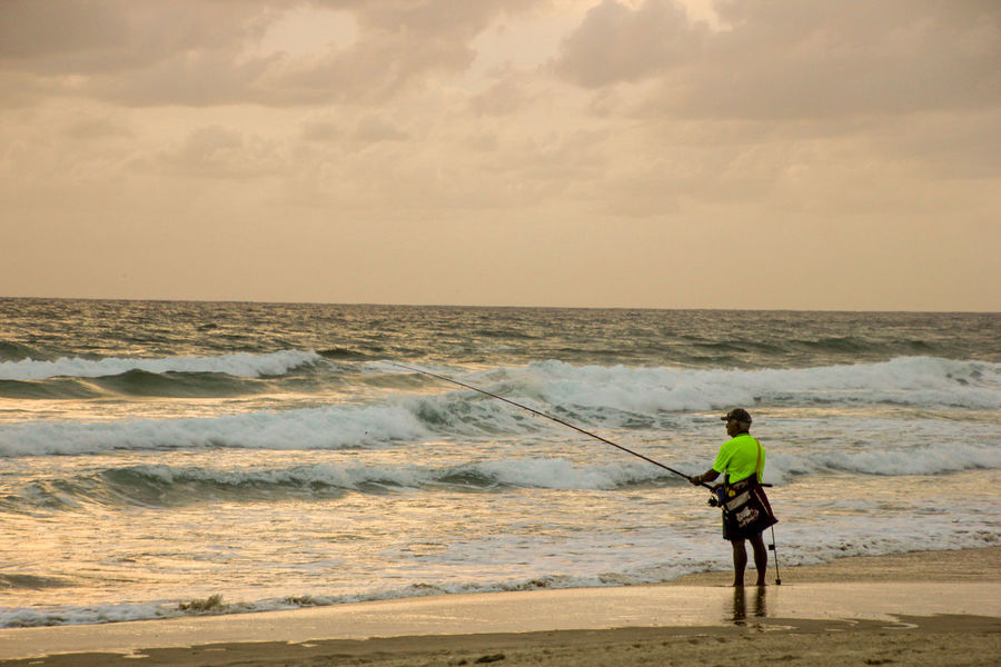 Adult Angler Beach Beauty In Nature Cloud - Sky Day Fisherman Fishing Full Length Horizon Over Water Men Nature One Man Only One Person Only Men Outdoors Real People Rear View Scenics Sea Sky Standing Sunrise Water Wave Lost In The Landscape