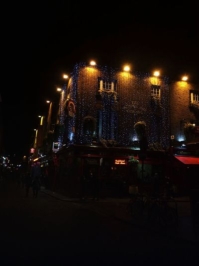 Templebardublin Night Illuminated Architecture Built Structure Outdoors Building Exterior City Sky Real People Large Group Of People People Dublin