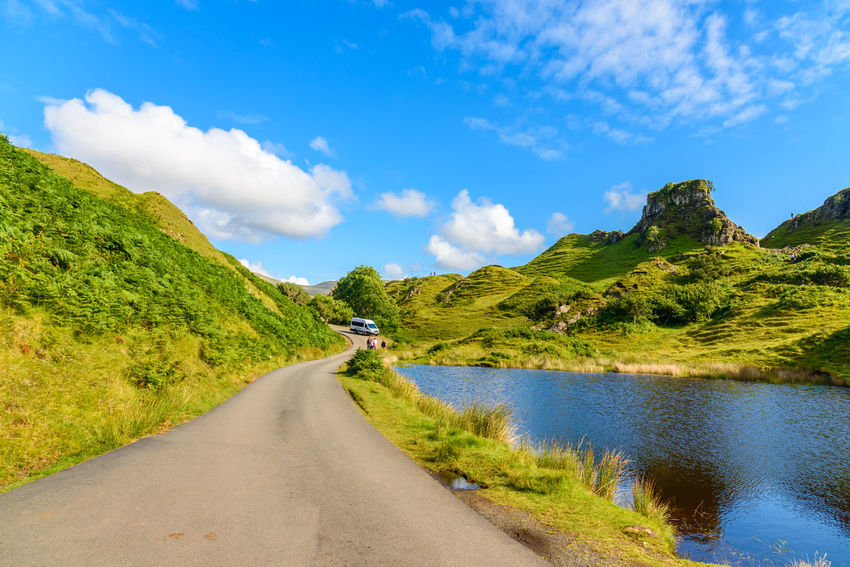 Fairy Glen Scotland Scottish Uig Beauty In Nature Cloud - Sky Curve Day Grass Highlands Landscape Mammal Mountain Mountain Range Mountain Road Nature No People Outdoors Road Scenics Sky The Way Forward Tranquil Scene Tranquility Transportation Tree Water Winding Road
