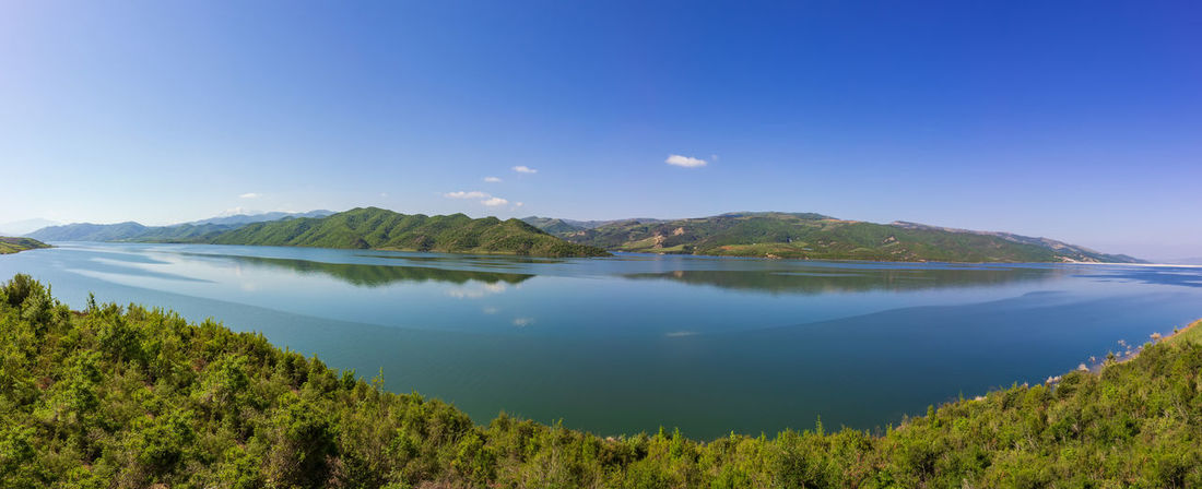 Albania Beautiful Nature Panorama Panoramic Rural Tranquility Blue Blue Sky Day Forest Huge Lake Peaceful