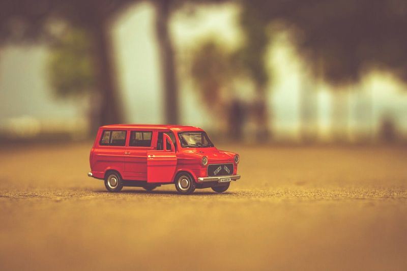 Close-up of red toy car