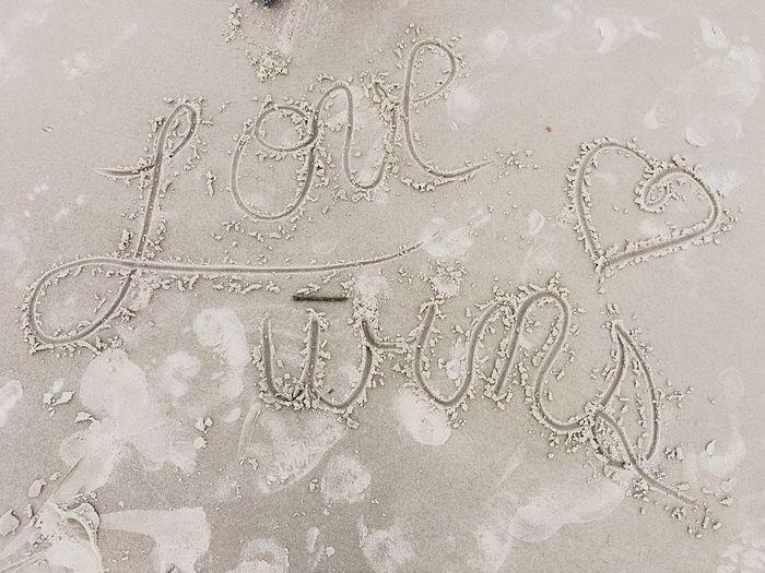 Sand Handwriting  Beach No People Day Love Wins Pride