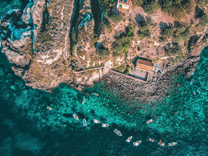 Lachea Island by drone, Acitrezza Sicily Italy Water Nature Outdoors Beauty In Nature Sea Land Tranquility No People Scenics - Nature Rock Catania Acitrezza  Sicily Trip Island Lachen Acicastello Tourism Sicilian Food Landscape Sealandscape