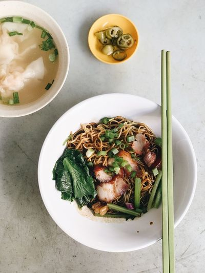 Asian noodle wantanmee Food And Drink Food Freshness Healthy Eating Ready-to-eat Wellbeing Table Still Life Bowl Indoors  Directly Above High Angle View Serving Size Plate Vegetable No People Meal Drink Healthy Lifestyle Glass