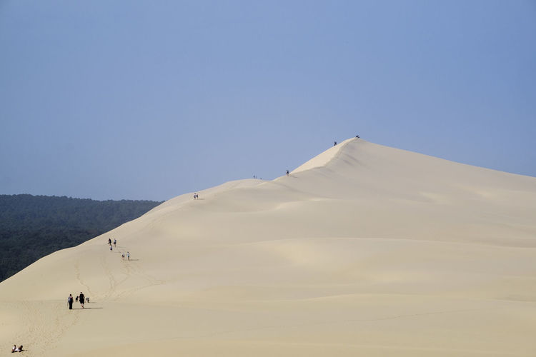 Rear view of people at dune of pilat against clear sky
