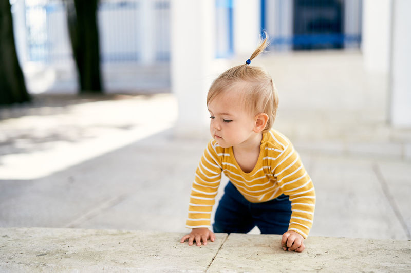 Full length of cute baby boy outdoors