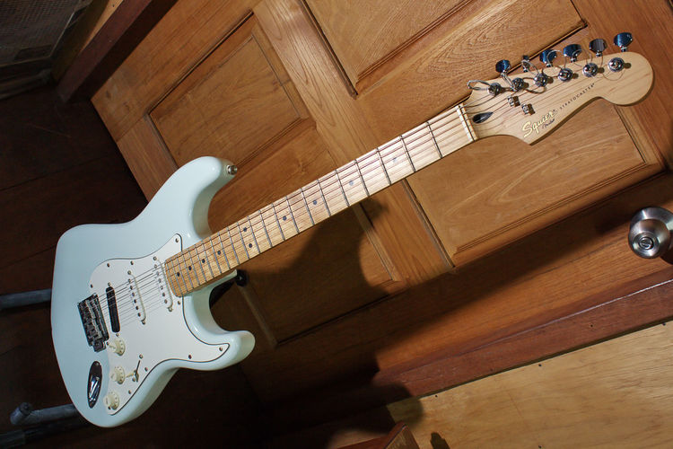 squier deluxe stratocaster Bed Room Door Editorial  Electric Guitar Guitar Maple Neck Music Musician Room Squier Squier By Fender Strat Stratocaster White Neck