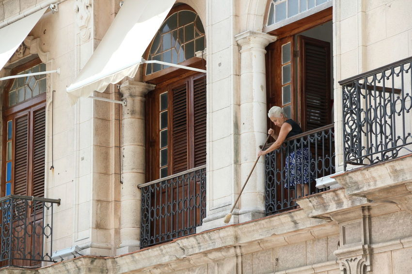 Adults Only Architecture Architecture Broom Brooming Building Exterior Built Structure Cuba Day Full Length Habana Havana Household Low Angle View One Person People Real People Shade Snap A Stranger Windows
