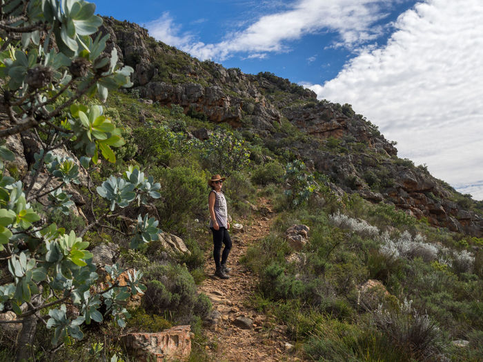 Young woman hiking in Cederberg Wilderness Mountain Area, South Africa Cederberg South Africa Adult Adults Only Adventure Casual Clothing Cloud - Sky Day Full Length Healthy Lifestyle Hiking Mountain Mountain Range Nature One Person One Woman Only Outdoors Plant Scenics Sky Standing Vacations Walking Young Adult Young Women