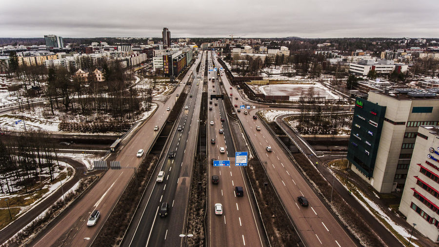 Aerial Photography Aerial View Aerialview Architecture Bridge - Man Made Structure Built Structure Cars City Cityscape Cloud - Sky Day Downtown District Finland High Angle View Highway No People Outdoors Road Suomi Traffic Traffic Transportation Urban Skyline