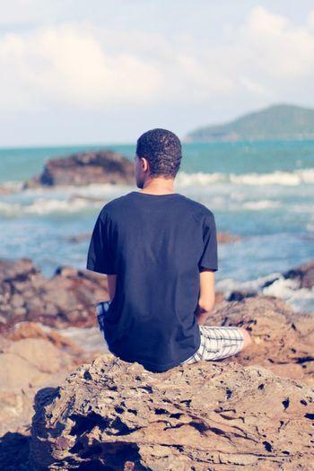 Balneário Camboriú - SC Sun Balneario Praia Rear View Sea Real People One Person Water Nature Sitting