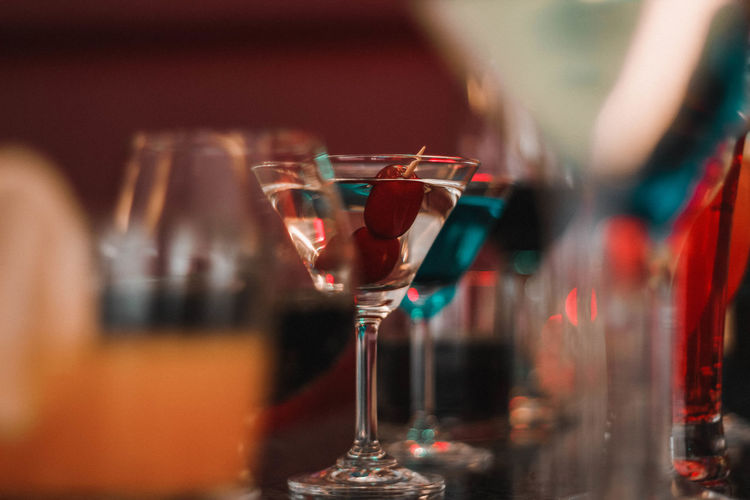 Close-up of martini on bar counter