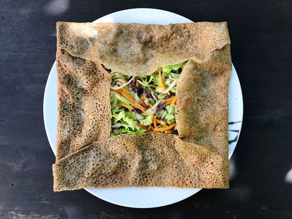 Galette Food Crêpes Food And Drink Ready-to-eat Still Life Plate Healthy Eating Serving Size Directly Above Table No People Wholegrain