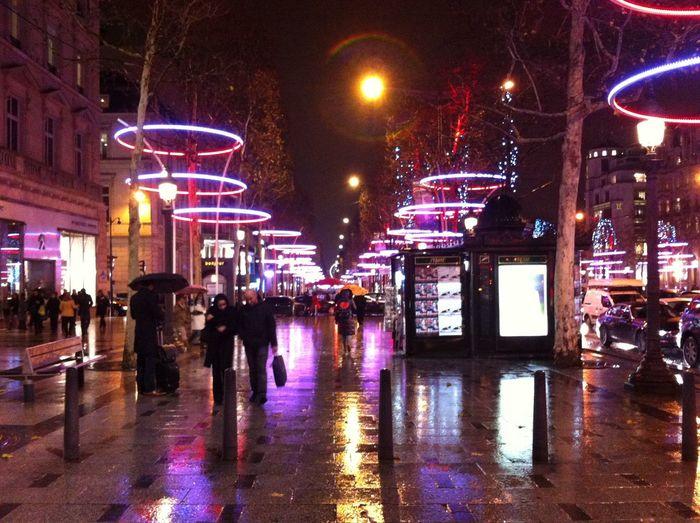 Night view of city street at night