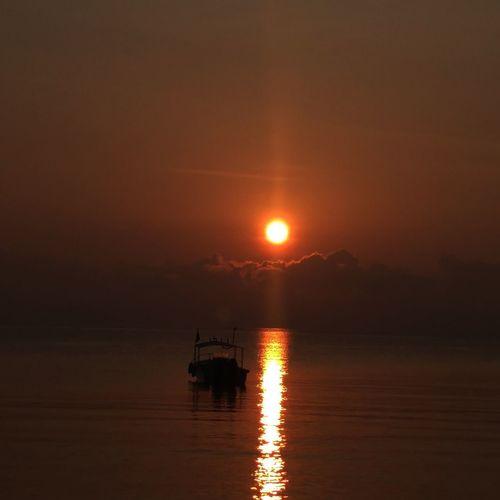 Peace✌️ Water Nautical Vessel Sea Sunset Sun Reflection Silhouette Sky