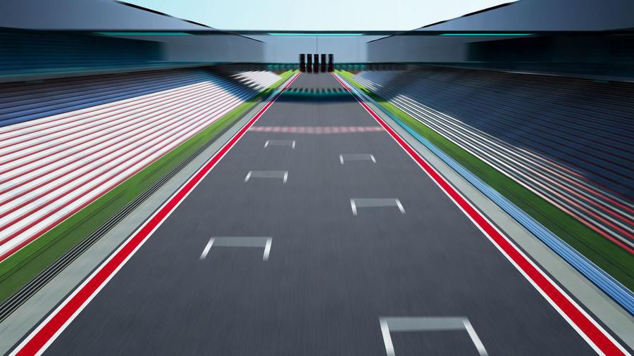 High Angle View Of Motor Racing Track