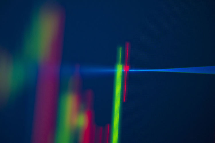 Stock chart Stock Chart Multi Colored Close-up No People Indoors  Neon Illuminated Light - Natural Phenomenon Laser Abstract Light Beam Red Glowing Rainbow Studio Shot Glass - Material Lighting Equipment Blue Refraction Creativity Copy Space Bright