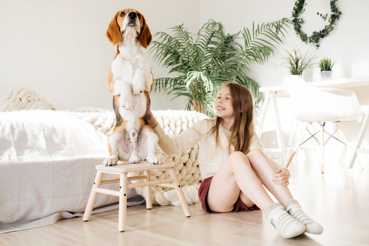 Smiling girl touching dog while sitting on floor in bedroom at home