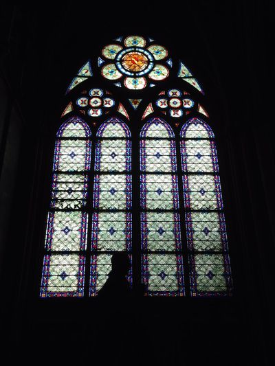 Taking Photos PhonePhotography Europe Trip Paris France Notre Dame De Paris Church Praying Enjoying Life Darkness And Light Stained Glass Europe Contrast Architecture View Travel Photography