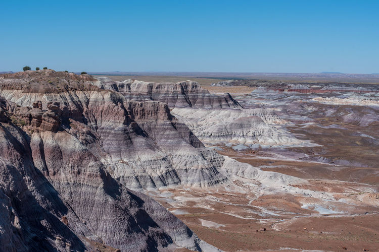 Purple and white badlands at blue mesa at petrified forest national park in arizona