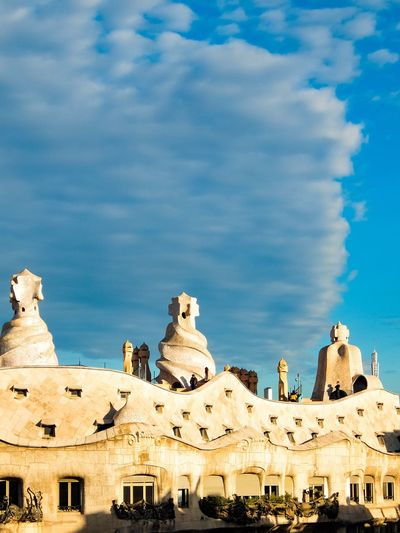 Casa Mila with dramatic clouds Architecture Built Structure History Cloud - Sky Building Exterior Sky Ancient Spirituality Casa Mila ( La Pedrera ) Gaudi Barcelona, Spain Barcelona Dramatic Sky Clouds And Sky Cloudscape Low Angle View Travel Destinations Sculpture Blue EyeEmNewHere