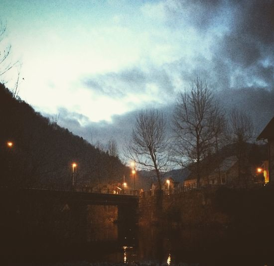 Winter Slovenia Trees Bridge Lights Clouds River 16:30 and the sun is almost down. Short Days