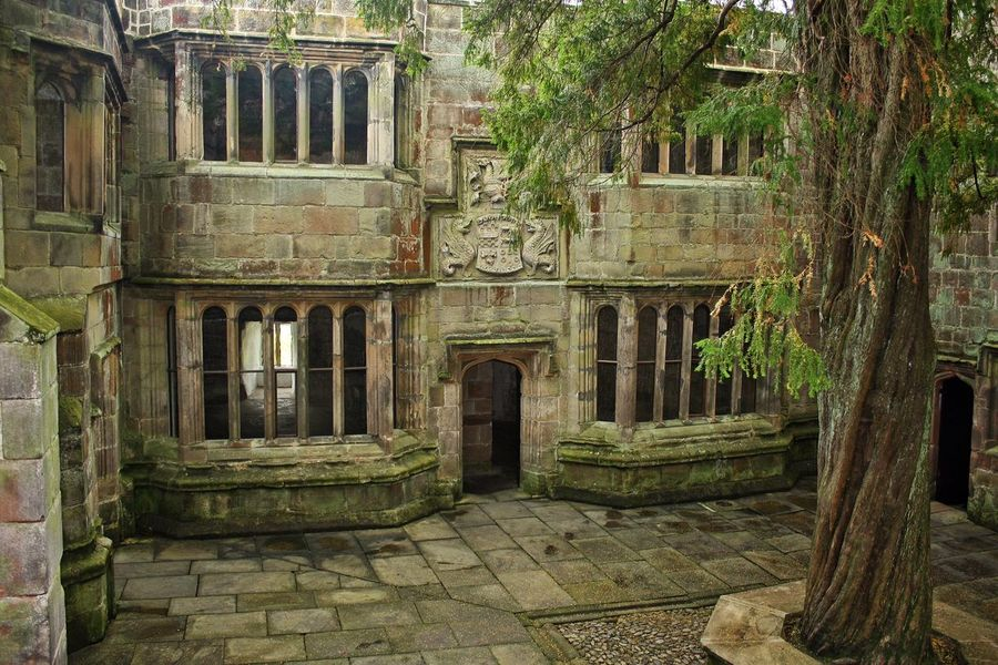 The Conduit Court, Skipton Castle, Skipton, UK. © J. Lynn Stapleton, 23rd July 2013. Skipton Castle Skipton Stone Masonry Trees Courtyard  Stone Masonry