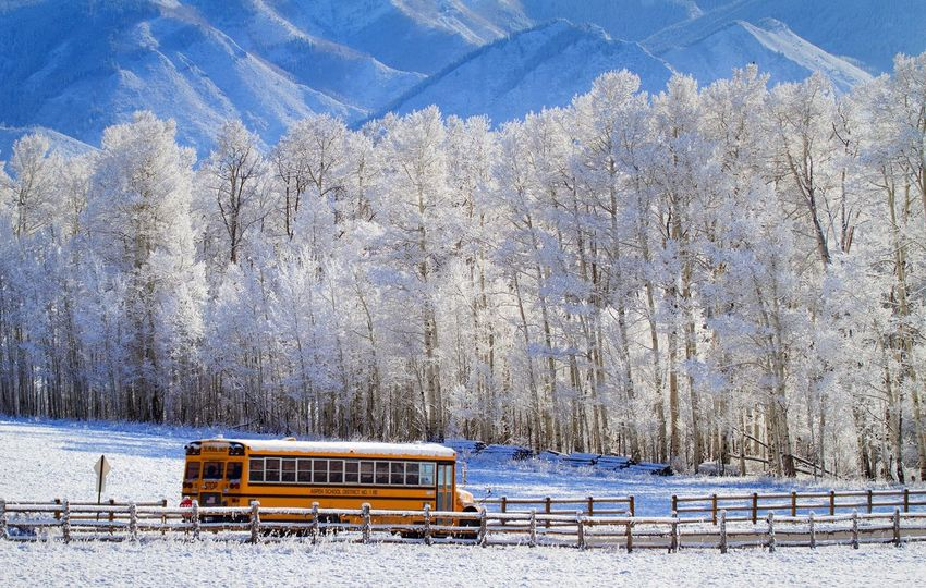 Winter Scene Country Road Mountain Life Snow Aspen Colorado School Winter Winter Wonderland Rocky Mountains Rural Scenes Lifestyle Country Life School Bus Editorial