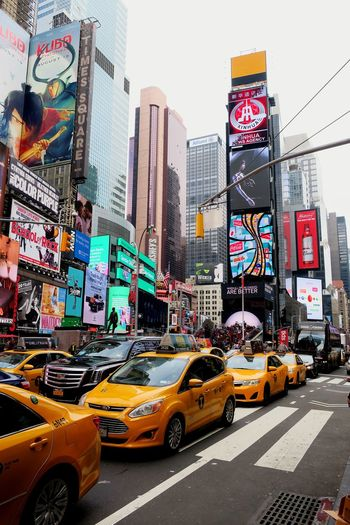 New York Manhattan Times Square Nyc Taxi Traffic Street Street Colors Paint The Town Yellow
