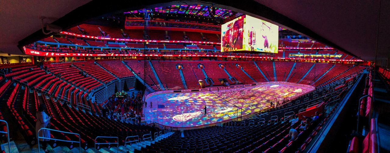 Detroit Redwings Detroit Red Wings New Empty Arena Hockey Arena Arena Little Caesers Arena EyeEm Selects High Angle View Multi Colored Architecture Illuminated No People Indoors