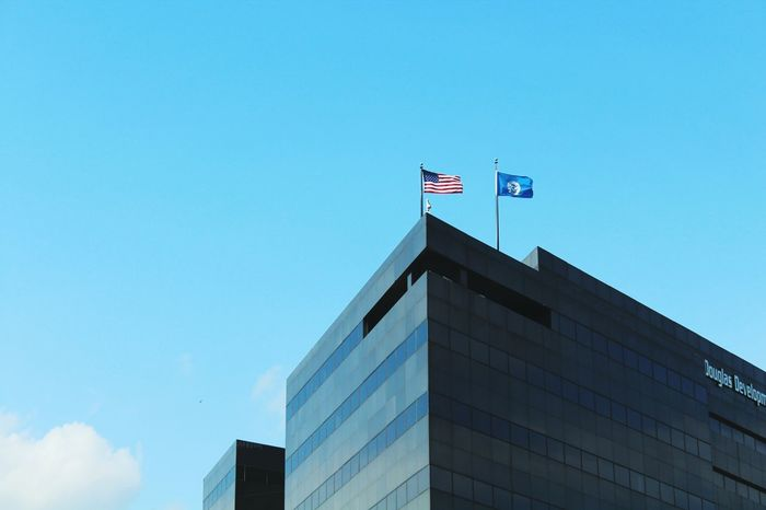 Flag Patriotism Architecture Government Low Angle View Politics And Government Archival Built Structure No People Modern Building Exterior Government Building Sky Horizontal Day Outdoors